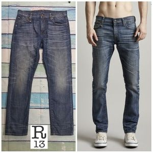 R13 brandon slim Italy jean men size 33 blue wash